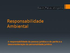 Responsabilidade Ambiental da Pessoa Jurídica